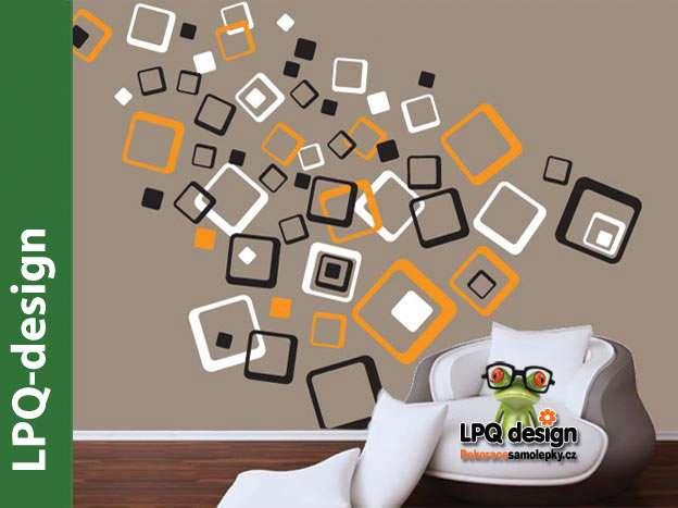 Samolepící dekorace na zeď čtverce kombinace barev oranžová bílá černá LPQdesign