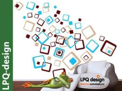 Samolepky na zeď čtverce kombinace barev béžová modrá hnědá LPQdesign