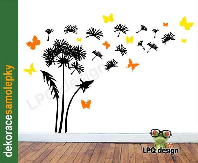 Samolepící dekorace, TAPETA na zeď pampeliška motýli