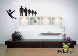 Vtipná dekorace nálepka na stěnu panáčci skok, človíčci