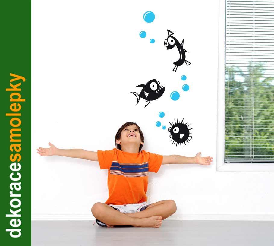 Samolepící dekorace nejen na zeď Rybky crazy LPQdesign