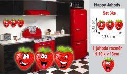 Barevná nálepka na cokoliv i zeď Happy jahody