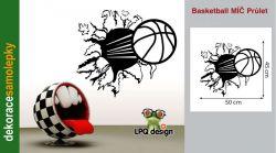 Samolepka na zeď Basketball, míč, balon průlet