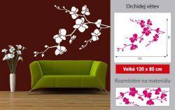 Dekorativní samolepka na zeď Orchidej bílá větvička LPQdesign