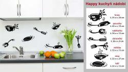 Samolepka nejen na zeď Happy kuchyň nádobí.