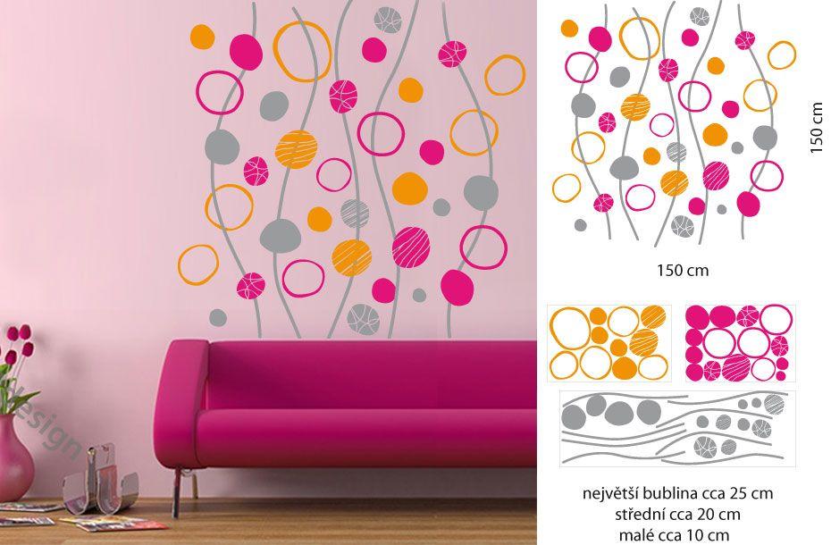 Samolepka na zeď Bubliny kruhy MIX LPQ š.150 x v.150 cm