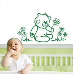 Samolepka na stěnu medvídek sedící