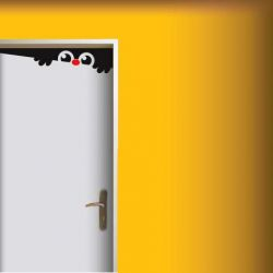 samolepka na dveře bubák