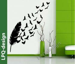 Samolepka na stěnu peříčko