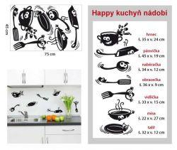 Samolepka do kuchyně - Happy kuchyň nádobí.