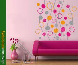Samolepka na zeď Bubliny kruhy MIX